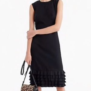 J Crew Ruffle-hem sheath dress in Super 120s wool